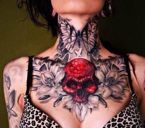 red-skull-and-flowers-tattoos-on-chest